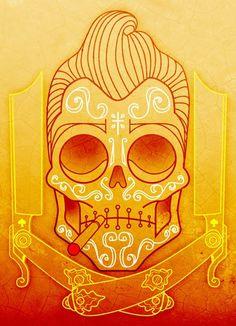 rockabilly skull.