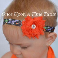 Halloween Spooky Creatures Headband - Photo Prop - Newborn Baby Hairbow Little Girls Hair Bow Accessory - Purple Orange Green Black by OnceUponATimeTuTus on Etsy