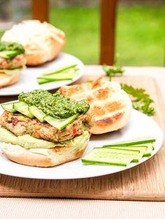 Bubba Veggie Burgers with Cilantro Parsley Pesto and Avocado Hummus…