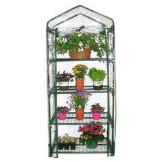 4-Tier Growing Rack Planter Stand Greenhouse with Steel Frame #greenhouseideas