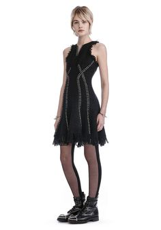 ALEXANDER WANG EXCLUSIVE DRESS WITH RING AND BARBELL PIERCING DETAIL. #alexanderwang #cloth #