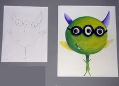 """High school students' drawings, paired with the 2nd grader's drawing they """"finished."""" Art Teacher: Rachel Aberle Goeden"""
