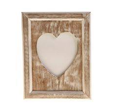 single heart portrait photo frame in white wood effect 675 - White Wood Picture Frames