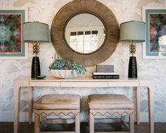 Ro Sham Beaux lamps, Made Goods mirror & accessories, console from Coup d'Etat | Design by Hillary Thomas | Photo by Patrick Cline