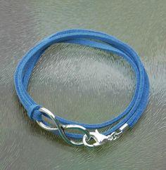 Bastelset, Armband mit Unendlichkeitssymbol, blau, pro Set