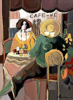Cafe Day by Isaac Maimon, Original Painting, Oil on Canvas Art Deco Artists, Modern Artists, Male Artists, Cafe Art, Art Pictures, Art For Sale, Oil On Canvas, Illustration, Contemporary Art