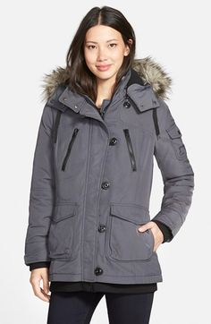 Bernardo 'Expedition' Faux Fur Trim Hooded Duffle Coat available at #Nordstrom
