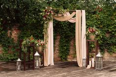 Loft wooden wedding ceremony in marsala, iced coffee, golden. Arch and centerpieces
