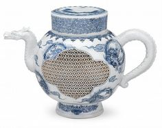 exceptional..., Fine Antique Japanese Hirado porcelain teapot and cover, 'meiji period', Fashioned with openwork 'basket-weave' sides, the spout and handle modeled Dragon, lid inverts for cup...
