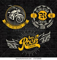 Rock themed badges. Vector - stock vector