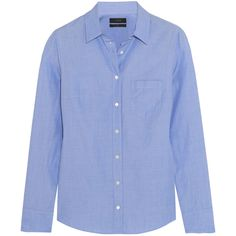 J.Crew Cotton-poplin shirt ($105) ❤ liked on Polyvore featuring tops, j.crew, shirts, blue, cut loose shirt, loose fitting tops, loose fit tops, blue top and tailored shirts
