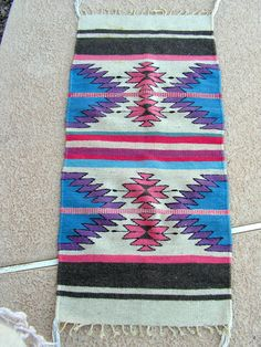 Vintage Zapotec Mexican Rug / Blue Pink Purple Bright Rug / Southwestern Indian Rug / 40 x 19 Rug / Native American Tribal Decor