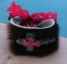 Hair On Hide Bracelet  Cross Cuff Bracelet  by SecretStashBoutique