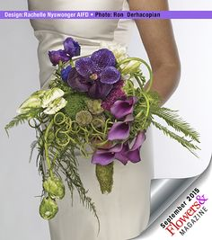 Rattan curls are clustered around a Gala bouquet holder to create a green collar for lavender orchids and mini callas.  Floral design by Rachelle Nyswonger  AIFD.  Photography:  Ron Dheracopian.  #weddingflowers  #freshflowerdesigns  #weddings