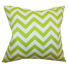 """Set of two cotton pillows with chevron motifs. Made in the USA.   Product: Set of 2 pillowsConstruction Material: Cotton cover and down fillColor: ChartreuseFeatures:  Inserts includedHidden zipper closureMade in the USA Dimensions: 18"""" x 18"""" eachCleaning and Care: Spot clean"""