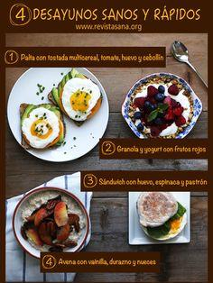 Desayunos sanos y rápidos - Recetario fácil. Ver detalle aquí: http://revistasana.org/4-recetas-de-desayunos-sanos-nutritivos-y-rapidos/