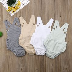 Summer Cool Clothing Sets Straps Cartoon Pompon Romper with Sling Cartoon Hair Ball Hat Romper Jumpsuit Hat Bodysuit Khaki, 0-3 Months
