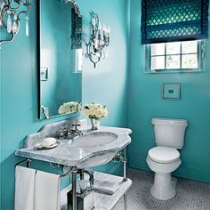 Designer: Barrie Benson Size: 40 square feet Before: A very traditional powder bath with black-and-white tile, a built-in vanity, and white walls. The Transfo Teal Walls, White Walls, Built In Vanity, Small Round Mirrors, Turquoise Cottage, Teen Bathrooms, Crystal Sconce, Black And White Tiles, Bathroom Inspiration