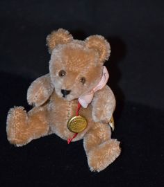 Vintage Hermann Teddy Bear Jointed Mohair Miniature For Doll German Toy