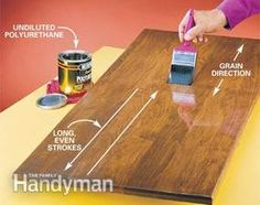 How to apply polyurethane. Includes great tip about starting with a seal coat of 2 parts poly to 1part mineral spirits.