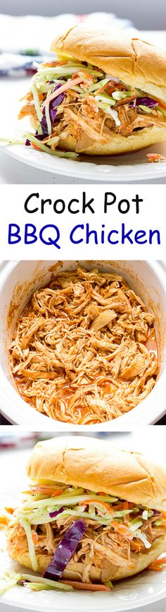 Crock Pot BBQ Chicken - Pulled or shredded chicken in homemade barbecue sauce made in a slow cooker.  A great #makeahead meal for #backtoschool.