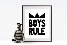 Boys Rule nursery print, kids bedroom print, monochrome print, nursery decor, kids room decor, digital print, wall art, wall print, boys by BrandonLiz on Etsy