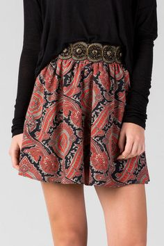 """Dress+up+your+look+when+you+wear+the+Peyton+Embellished+Skirt.+A+rich+paisley+print+adorns+this+a-line+skirt+topped+off+with+beading+&+embroidery+along+the+waistband.+Style+with+a+solid+top+&+a+statement+necklace+for+a+polished+look.<br+/>  <br+/>  -+18""""+length<br+/>  -+26""""+waist<br+/>  -+66""""+sweep<br+/>  -+measured+from+a+size+small<br+/>  <br+/>  -+100%+Polyester<br+/>  -+Hand+Wash<br+/>  -+Made+in+U.S.A.<br+/>  <br+/>"""