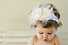 Headband Veil White Ivory Baby Mix Silk and by josiekatstrunk, $38.50