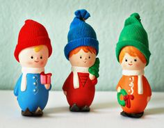 Christmas Ski Figurines   ADORABLE by RSWVintage on Etsy, $12.00