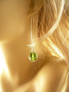 Briolettes Earrings  Silver and Peridot Green Faceted by mildbunch, $15.00