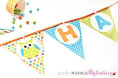 Garçons Polka Dot chouettes imprimable bannière - imprimable Party Favors - garçon chouette fête imprimables - Owl imprimable Triangle anniversaire bannière