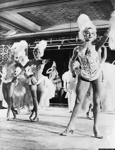 Molly Dexter on stage at the Lido in Paris with the Bluebell Girls in 1957.