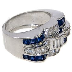 Art Deco Platinum Diamond and Sapphire Ring, ca. 1930s