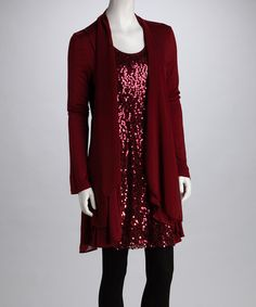 Take a look at this MONORENO Burgundy Sequin Layered Tunic by MONORENO & miilla on #zulily today!