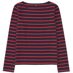 UNIQLO Women Striped Boat Neck Long Sleeve T-Shirt ($20) ❤ liked on Polyvore