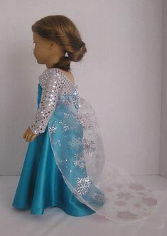 Snow Queen PDF Dress Pattern for American Girl or Elsa Doll American Doll Clothes, Girl Doll Clothes, Girl Dolls, Ag Dolls, Barbie Clothes, Princess Dress Patterns, Doll Dress Patterns, Sewing Patterns, Frozen Dress