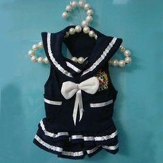 Small-Pet-Dog-Apparel-Navy-Dress-Puppy-Dog-Dress-Summer-Clothes-Costume-Blue