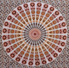 Peach Orange Mandala Tapestry, Throw and Wall hanging