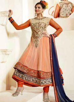 Oustanding Orange Beige Embroidery Work Georgette Multilayer Anarkali Suit