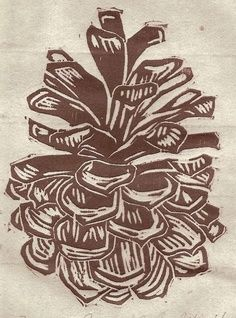 Items similar to Pine Cone, editioned Woodblock print on Japanese Washi with Inclusions on Etsy Stamp Carving, Linoprint, Art Graphique, Wood Engraving, Tampons, Linocut Prints, Art Plastique, Woodblock Print, Screen Printing