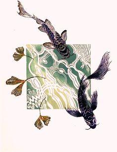 woodcuts prints printmaking a series of prints titled quot;Branches into Wingsquot; monoprints (re)using lino amp; - a series of prints titled Branches into Wings; monoprints (re)using lino amp; woodcuts by April - Linocut Prints, Art Prints, Lino Art, Carpe Koi, Kunst Poster, Linoprint, Art Graphique, Woodblock Print, Art Plastique