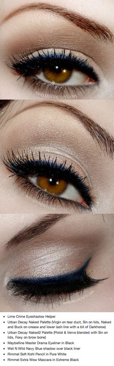 The touch of navy liner really makes brown eyes pop, but it's not too much....I love this look!