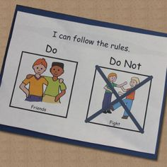 """Great for Rules and Social Stories: """"Do and Do Not"""" cards. Free samples of some basic classroom rules- LessonPix"""