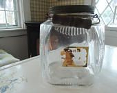Glass Jar, w lid, Wooden handle, Lg ribbed glass container, Ward Coffee Newark NJ, Original label, Jar in excellent condition, Vintage
