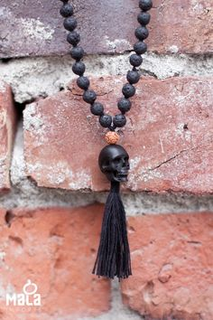 $108.00 http://shop.malaimports.ca/collections/rock-om/products/rockstar-mala Lava, Rudraksha, and a hand-carved skull — does it get more rockstar than that? Our Rockstar Mala embodies strength and clarity thanks to the Lava. The Rudraksha beads promote peace. While the unique skull, representing wisdom and guidance, is hand carved from Jet stone. Jet is believed to remove fears and channel the elements of the earth's energies. #lava #love #yoga #fashion #mala #gifti