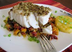 Olive-encrusted Pacific Seabass with Provencal Vegetables