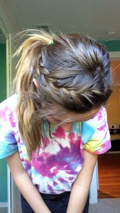 Braided Ponytail Ponytails For Sports Hairstyles For Softball - pony tail hairstyles for sports pony tail hairstyles for kids Basketball Hairstyles, Gym Hairstyles, Braided Ponytail Hairstyles, Athletic Hairstyles, Braided Buns, Hairstyles Videos, Messy Buns, Updo Hairstyle, Wedding Hairstyles