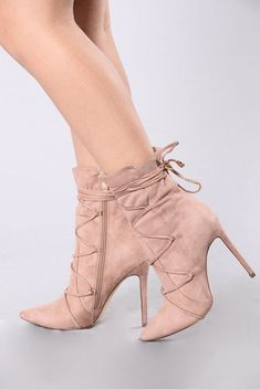 Available in Teal and Blush - Ankle Boot - Lace Up Front with Tie -