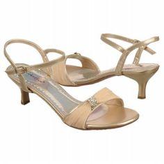 "Women's Coloriffics Sienna Lt. Gold w/Beige chiffon overlay at front. Rhinestones. 2.25"" FamousFootwear.com"