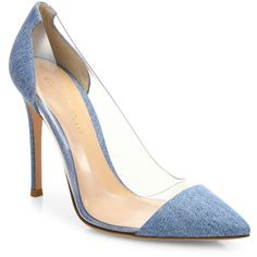 Gianvito Rossi Plexy Denim & PVC Cap Toe Pumps ($795) ❤ liked on Polyvore featuring shoes, pumps, apparel & accessories, pointed toe pumps, denim shoes, plexi pumps, clear lucite shoes and clear pumps
